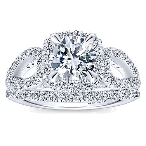 Zinnia 14k White Gold Round Halo Engagement Ring angle 4