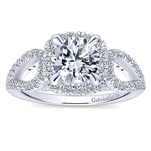 Zinnia 14k White Gold Round Halo Engagement Ring angle 5