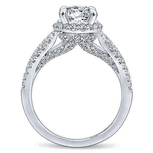 Zinnia 14k White Gold Round Halo Engagement Ring angle 2