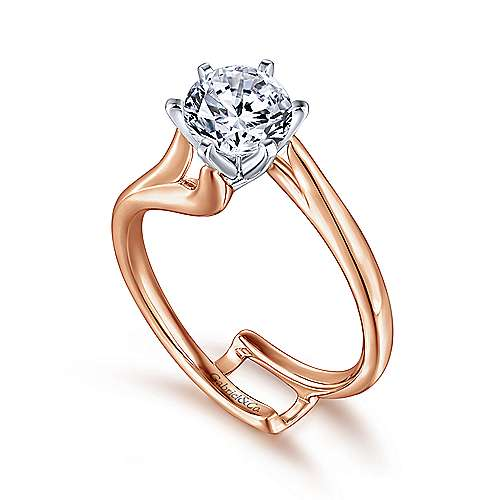 Zoey 14k White And Rose Gold Round Bypass Engagement Ring angle 3