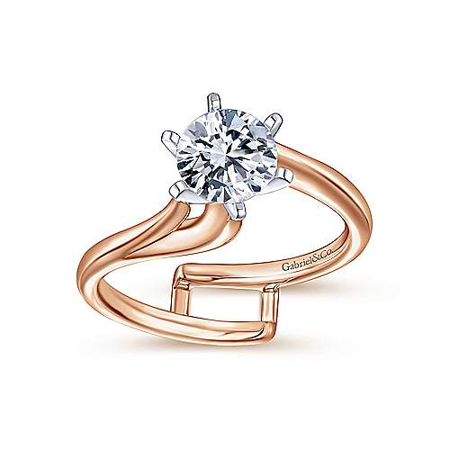 Zoey 14k White And Rose Gold Round Bypass Engagement Ring angle 4