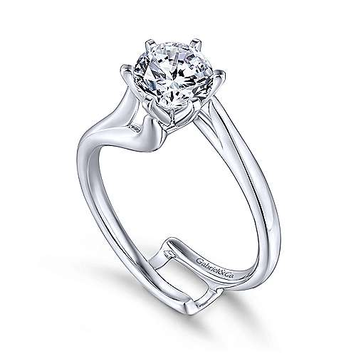 Zoey 14k White Gold Round Bypass Engagement Ring angle 3