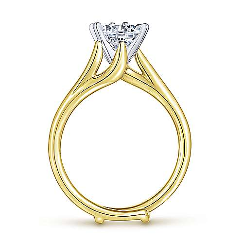 Zoey 14k Yellow And White Gold Round Bypass Engagement Ring angle 2
