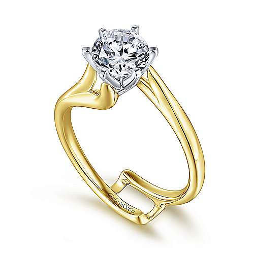 Zoey 14k Yellow And White Gold Round Bypass Engagement Ring angle 3