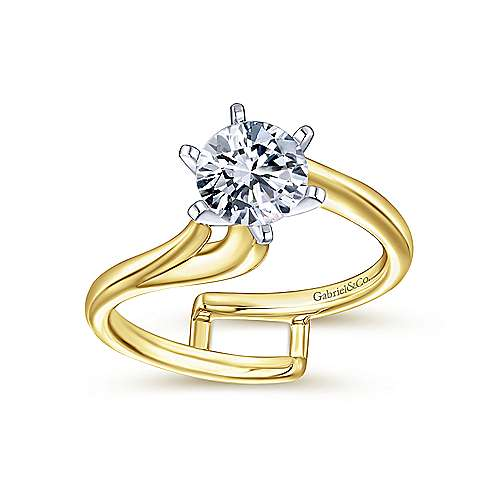 Zoey 14k Yellow And White Gold Round Bypass Engagement Ring angle 4