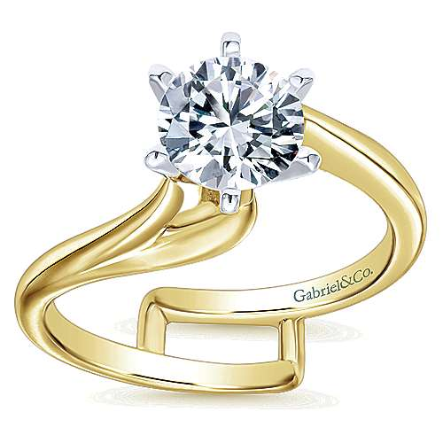 Zoey 14k Yellow And White Gold Round Bypass Engagement Ring angle 5