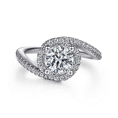 Zolyn 14k White Gold Round Bypass Engagement Ring