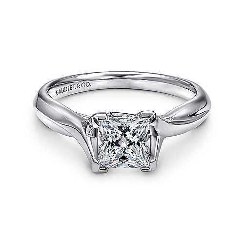 Zuri 14k White Gold Princess Cut Straight Engagement Ring angle 1