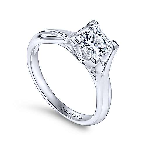 Zuri 14k White Gold Princess Cut Straight Engagement Ring angle 3