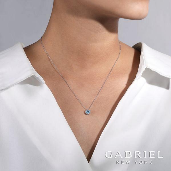 14k White Gold Round Swiss Blue Topaz Diamond Halo Fashion Necklace angle