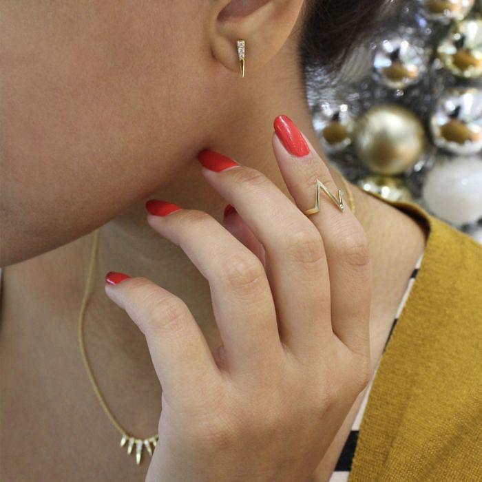 14K Yellow Gold Pavé Diamond Ear Climber Earrings angle