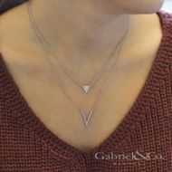 14k White Gold Diamond V Necklace angle