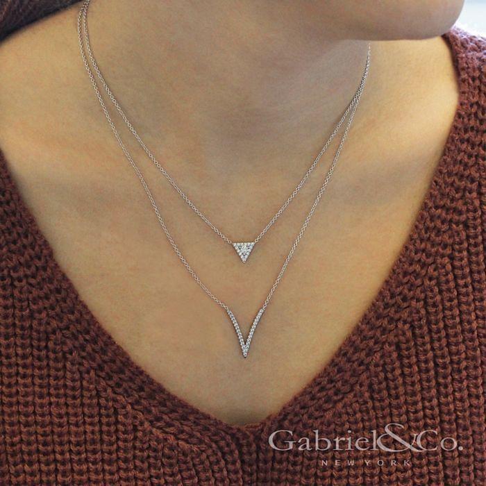 14K White Gold Diamond V Pendant Necklace angle