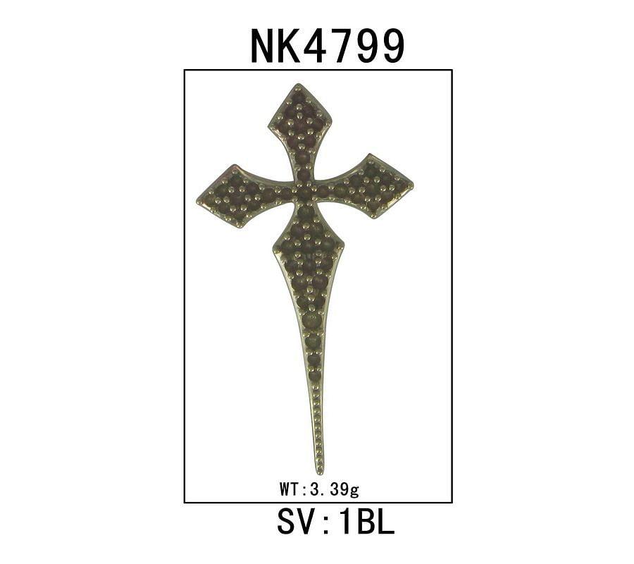 925 Sterling Silver Garnet Spike Cross Pendant Necklace