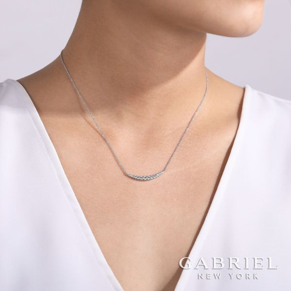 14k White Gold Curved Diamond Bar Necklace angle