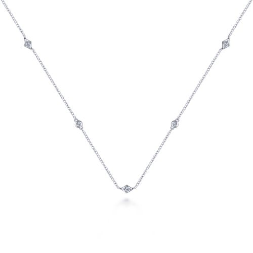14K White Gold Geometric Shape Diamond Station Necklace angle