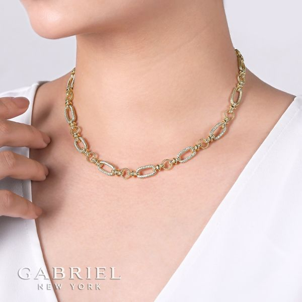 14K Yellow-White Gold Fashion Necklace angle