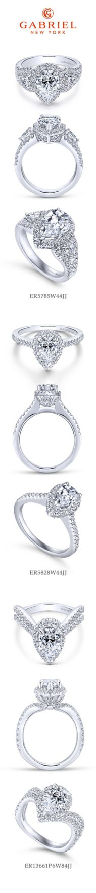 14K White Gold Pear Shape Halo Diamond Engagement Ring angle