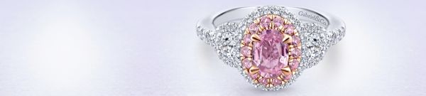 14k White/Rose Gold Oval 3 Stone Double Halo Pink Sapphire Engagement Ring