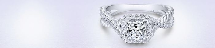 14K White Gold Princess Halo Diamond Engagement Ring angle