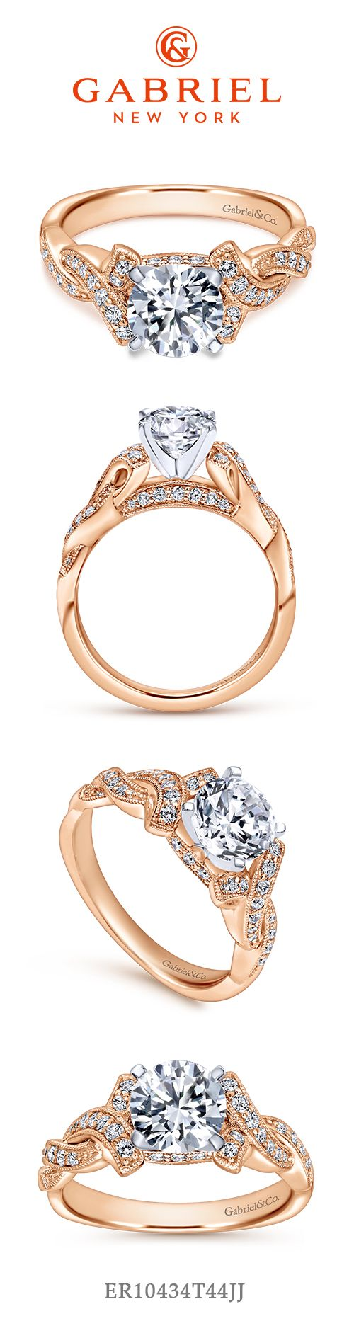 14K White-Rose Gold Round Diamond Twisted Engagement Ring angle