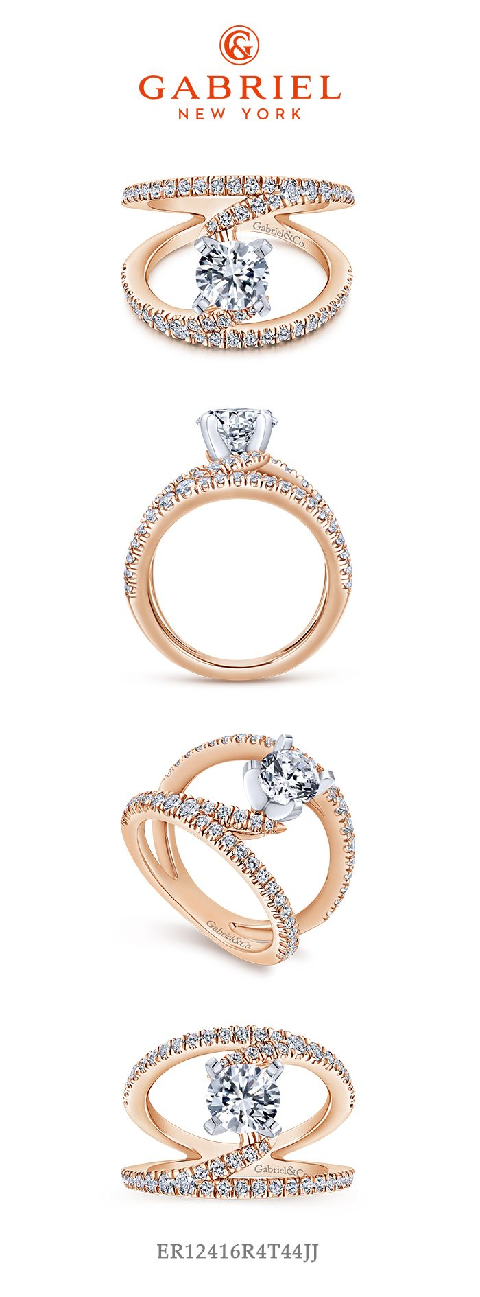 14K Rose Gold Round Split Shank Diamond Engagement Ring angle