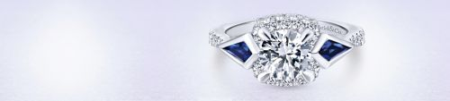 14K White Gold 3 Stone Sapphire and Diamond Engagement Ring angle