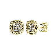 14K  Ylw Gold Diamond Earring