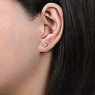 14K R.Gold Dia&LQ Earrings