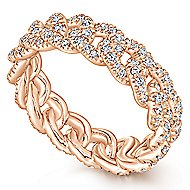 14K Rose Gold Chainlink Pave Diamond Eternity Ring