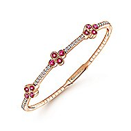 14K Rose Gold Diamond & Ruby Bangle