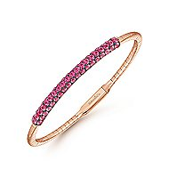 14K Rose Gold Ruby Bangle