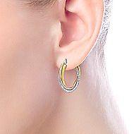 14K Three Tone Gold Prong Set  20mm Round Classic Diamond Hoop Earrings