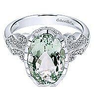 14K W.Gold G.Amethyst&Dia Ring