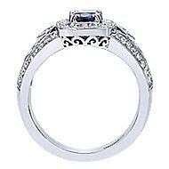 14K W.Gold Sapphire&Dia Ring