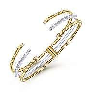 14K White / Yellow Gold Diamond Bangle