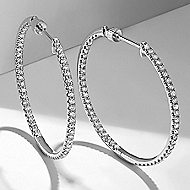 14K White Gold 30mm Round Inside Out French Pave Diamond (1ct) Hoop Earrings