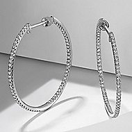 14K White Gold 30mm Round Inside Out French Pave Diamond (.75ct) Hoop Earrings