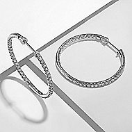 14K White Gold French Pave (1.5ct.) 30mm Round Inside Out Diamond Hoop Earrings
