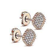 14k Rose Gold Beaded Square Diamond Cluster Stud Earrings