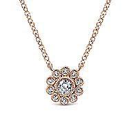 14k Rose Gold Bezel Set Floral Diamond Fashion Necklace