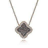 14k Rose Gold Champagne Diamond Clover Necklace