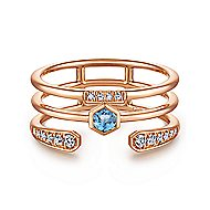 14k Rose Gold Constellations Fashion Ladies' Ring angle 1