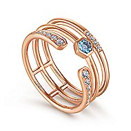 14k Rose Gold Constellations Fashion Ladies' Ring angle 3