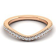 14k Rose Gold Contemporary Curved Wedding Band angle 1