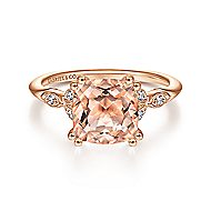 14k Rose Gold Cushion Cut Morganite Straight Engagement Ring