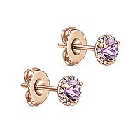 14k Rose Gold Diamond Halo Pink Amethyst Stud Earrings
