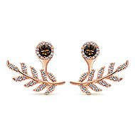 14k Rose Gold Double Earrings Peek A Boo Earrings angle 1