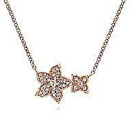 14k Rose Gold Double Flower Diamond Fashion Necklace