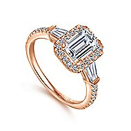 14k Rose Gold Emerald Cut Halo Engagement Ring angle 3